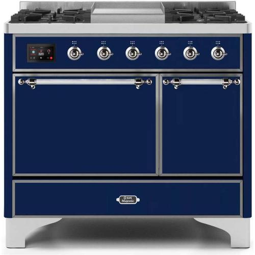 Ilve - Majestic II 40 Inch Dual Fuel Natural Gas Freestanding Range in Blue with Chrome Trim