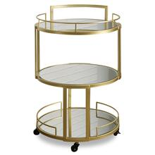 VICTORIA BAR CART  21in w. X 34in ht. X 21in d.  Round Metal Three Tier Serving Cart with Rolling