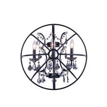 Geneva 3 light Dark Bronze Wall Sconce Silver Shade (Grey) Royal Cut crystal