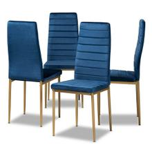 View Product - Baxton Studio Armand Modern Glam and Luxe Navy Blue Velvet Fabric Upholstered and Gold Finished Metal 4-Piece Dining Chair Set