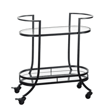 Gunmetal Two Tier Bar Cart with Mirror & Glass