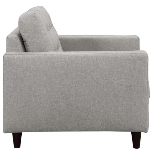 Empress Sofa, Loveseat and Armchair Set of 3 in Light Gray