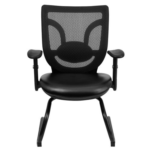 Galaxy Black Leather Office Side Chair with Mesh Back and Adjustable Arms