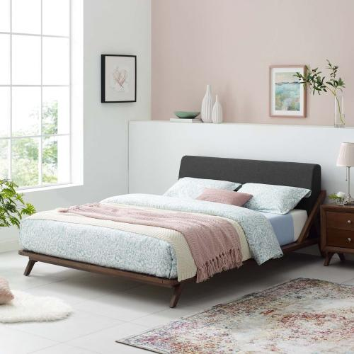 Modway - Luella Queen Upholstered Fabric Platform Bed in Walnut Gray