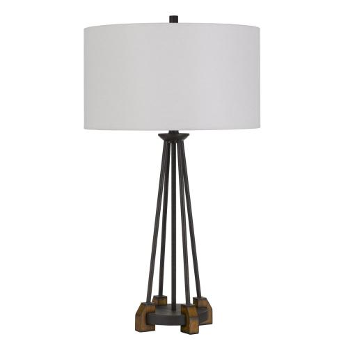 Bellewood Metal/Wood Table Lamp With Fabric Drum Shade