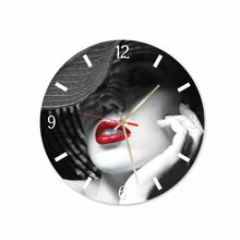 Woman With Hat Round Square Acrylic Wall Clock