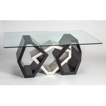"""Dining Table Base with Glass 54x20x30"""", Glass top 76x45"""" & 1/2"""" thickness"""