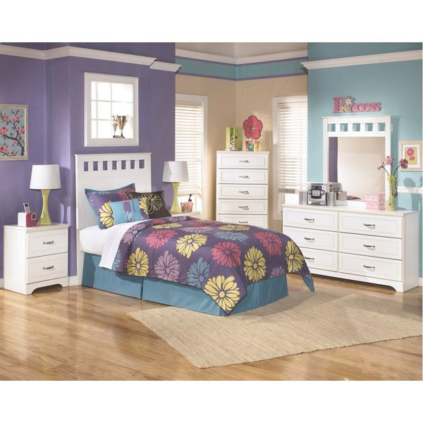 See Details - Twin Panel Headboard With Mirrored Dresser and Chest