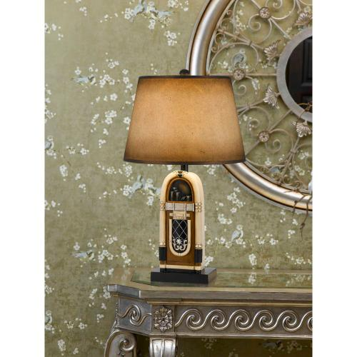Cal Lighting & Accessories - 150W 3 Way Jukebox Resin Table Lamp With Hand Painted Paper Shade