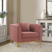 See Details - Everest Blush Fabric Upholstered Sofa Accent Chair with Brushed Gold Legs
