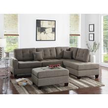 Amelia 3pc Sectional Sofa Set, Coffee