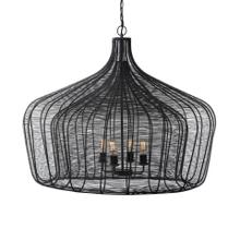 """See Details - Coolie (40""""x31"""") Black Metal Mesh-Style Four Bulb Chandelier"""