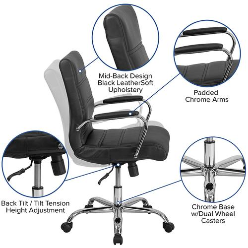 Gallery - Mid-Back Black LeatherSoft Executive Swivel Office Chair with Chrome Frame and Arms