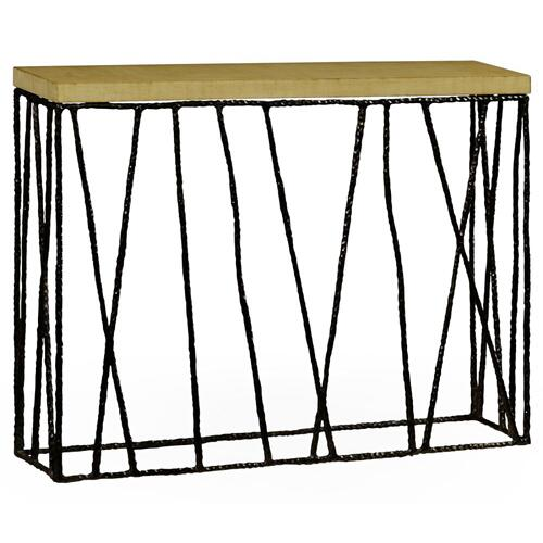 Bronze hammered console table with celadon top