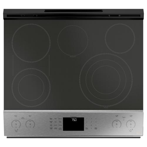 "Café 30"" Smart Slide-In, Front-Control, Radiant and Convection Double-Oven Range in Platinum Glass"