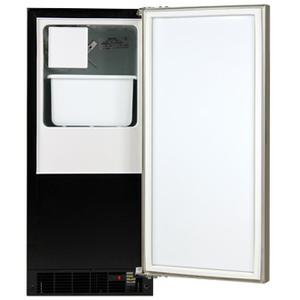 """Marvel 15"""" Crescent Ice Machine - Solid Black Door, Stainless Steel Handle - Right Hinge OPEN BOX 1 ONLY SERIAL # 2016066243H"""