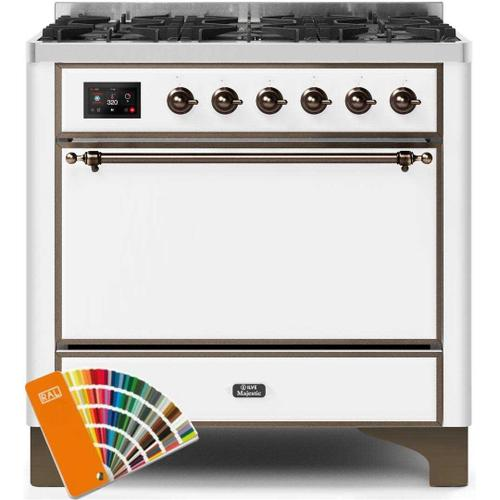 Gallery - Majestic II 36 Inch Dual Fuel Natural Gas Freestanding Range in Custom RAL Color with Bronze Trim