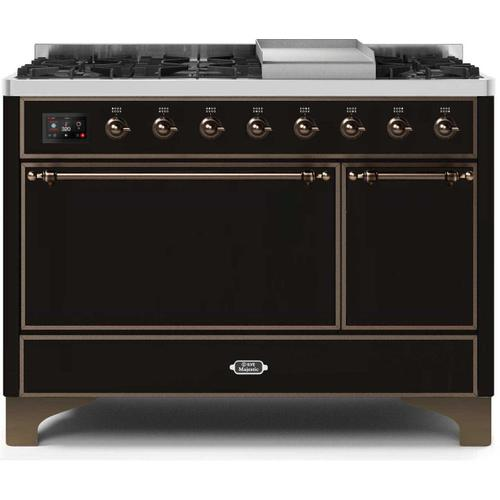 Product Image - Majestic II 48 Inch Dual Fuel Natural Gas Freestanding Range in Glossy Black with Bronze Trim