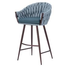 Fabian KD Fabric/ PU Bar Stool w/ Arms, Alpine Light Blue/ Fairfax Green
