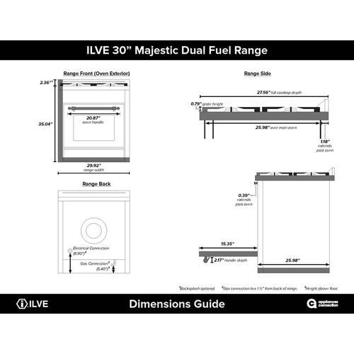 30 Inch White Dual Fuel Liquid Propane Freestanding Range