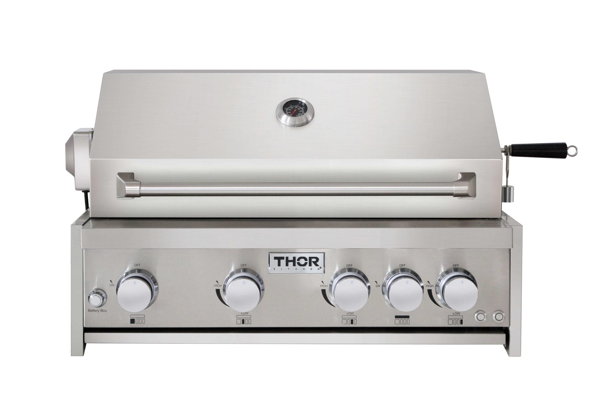 Thor Kitchen32 Inch 4-Burner Gas Bbq Grill With Rotisserie In Stainless Steel