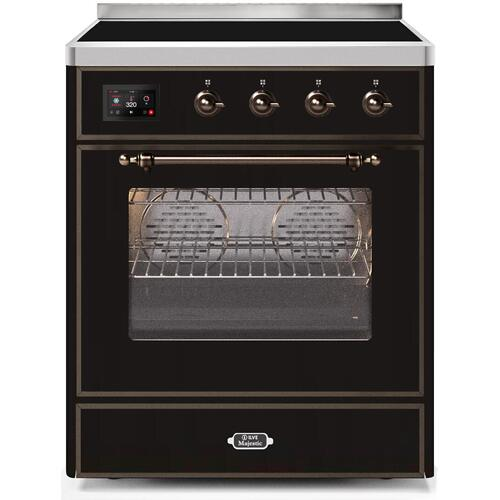 Majestic II 30 Inch Electric Freestanding Range in Glossy Black with Bronze Trim