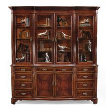 Mahogany glazed China cabinet serpentine architrave