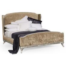 US King Louis XV Silver-Leaf Bed, Upholstered in Calico Velvet