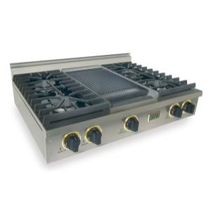 "Five Star36"" Gas Cooktop, Sealed Burners, Stainless Steel with Brass"