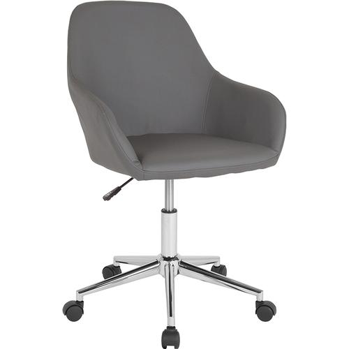 Gallery - Cortana Home and Office Mid-Back Chair in Gray LeatherSoft