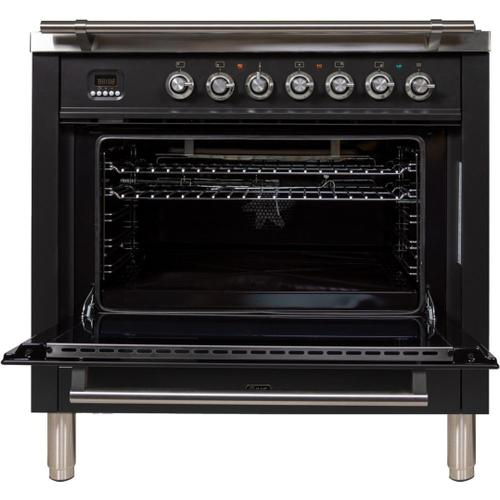 """Ilve - 36"""" Professional Plus Series Freestanding Single Oven Gas Range with 5 Sealed Burners in Matte Graphite"""