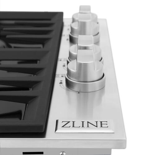 """Zline Kitchen and Bath - ZLINE 30"""" Dropin Gas Stovetop with 4 Gas Burners and Black Porcelain Top (RC30-PBT) [Color: Stainless Steel]"""