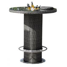 "Spectrum 40"" Round Pub Table KD w/tempered glass & ice bucket"