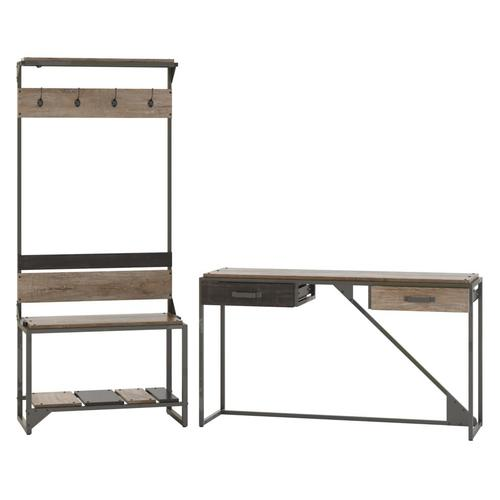 Refinery Entryway Storage Set with Shoe Bench, Hall Tree and Console Table - Rustic Gray