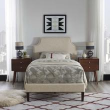 Corene Twin Fabric Platform Bed with Squared Tapered Legs in Beige