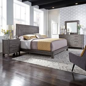 Queen Platform Bed, Dresser & Mirror, Night Stand