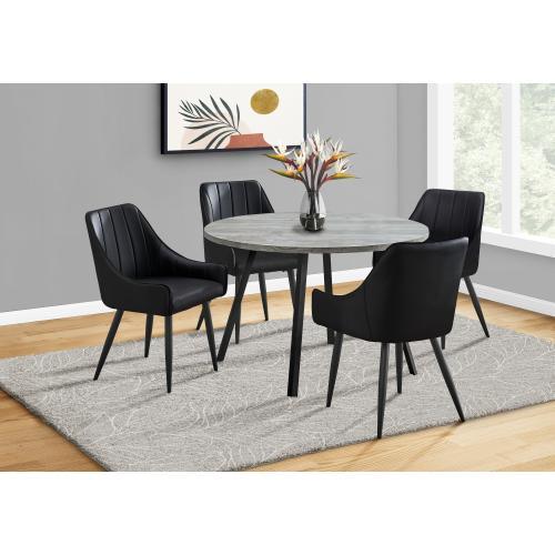 """Gallery - DINING TABLE - 48""""DIA/ GREY RECLAIMED WOOD / BLACK METAL"""