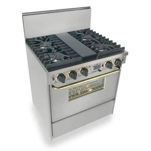 """Five Star - 30"""" Dual Fuel, Convect, Self Clean, Sealed Burners, Stainless Steel with Br"""
