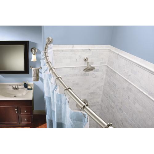 Curved Shower Rods Brushed nickel tension curved shower rods