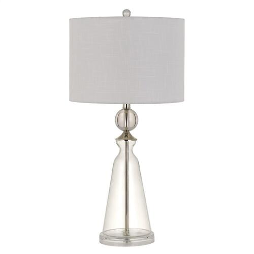 Kingsley Glass Table Lamp With Fabric Drum Shade
