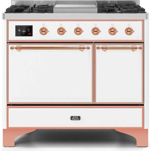 Majestic II 40 Inch Dual Fuel Natural Gas Freestanding Range in White with Copper Trim