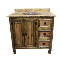 Copper and Stone Vanities with doors, drawers and single and double sinks