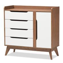See Details - Baxton Studio Brighton Mid-Century Modern White and Walnut Wood Storage Shoe Cabinet