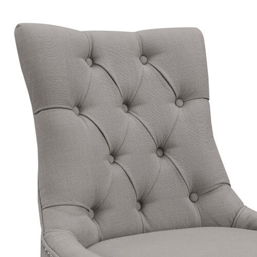 Upholstered Button Tufted Dining Chair in Warm Gray