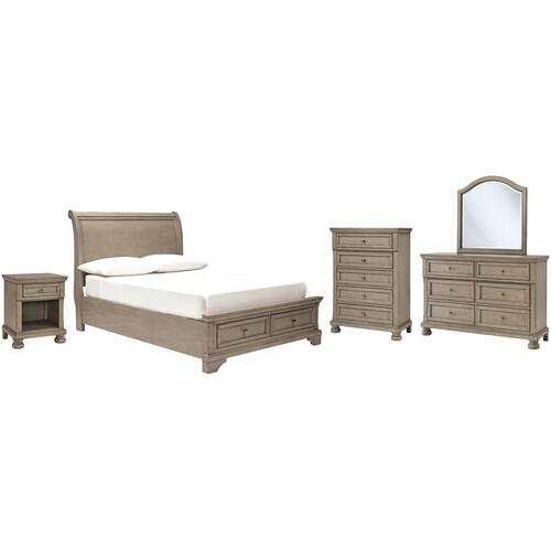 Product Image - Full Sleigh Bed With Mirrored Dresser, Chest and Nightstand