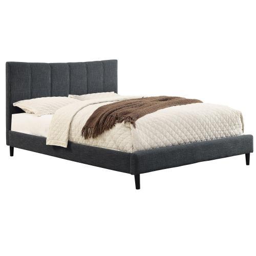 """Rimo 60"""" Queen Platform Bed in Grey"""