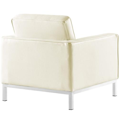 Modway - Loft 2 Piece Leather Loveseat and Armchair Set in Cream White