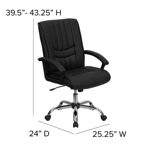 Gallery - Mid-Back Black LeatherSoft Swivel Manager's Office Chair with Arms