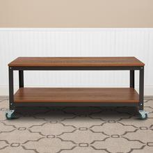 See Details - Livingston Collection TV Stand in Brown Oak Wood Grain Finish with Metal Wheels