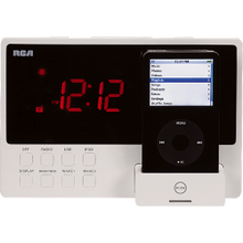 Clock radio audio system with built-in dock for iPod and USB connectivity (white)